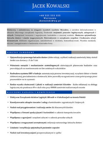 Wzór CV nr 5 - dwustronny dokument bez zdjęcia z niebieskim nagłówkiem i szarymi dodatkami, strona pierwsza