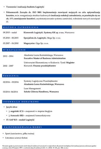Wzór CV nr 6 - dwustronny dokument bez zdjęcia z niebieskim nagłówkiem i szarymi dodatkami, strona druga