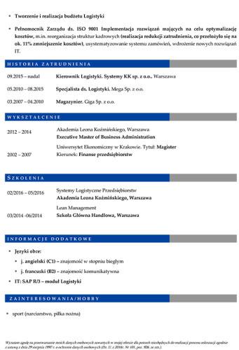 Wzór CV nr 8 - dwustronny dokument ze zdjęciem z niebieskim nagłówkiem i szarymi dodatkami, strona druga