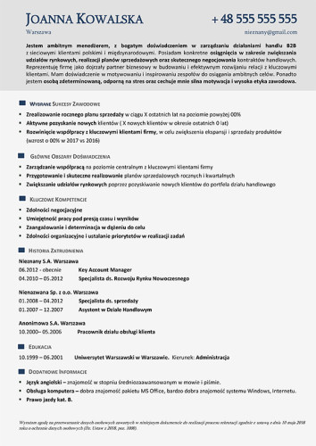 Wzór CV nr 20 - jednostronny dokument bez zdjęcia w szarej kolorystyce
