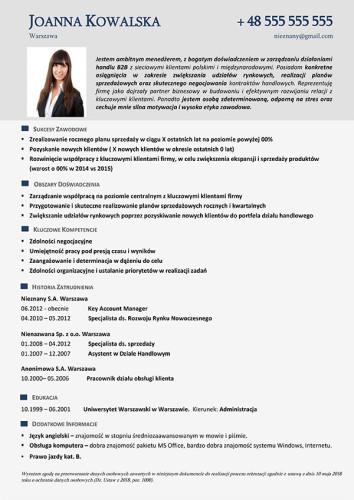 Wzór CV nr 19 - jednostronny dokument ze zdjęciem w szarej kolorystyce