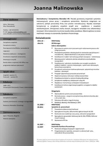 Wzór CV nr 11 - jednostronny dokument bez zdjęcia z szarym nagłówkiem i paskiem bocznym