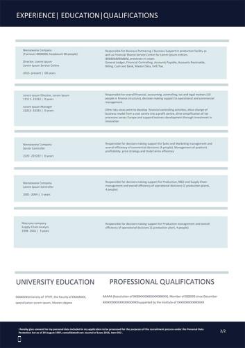Wzór CV nr 10 - dwustronny dokument bez zdjęcia z grafiką w nagłówku, strona druga