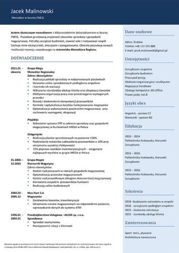 Wzór CV nr 18 - jednostronny dokument bez zdjęcia i niebieskim prawym paskiem bocznym